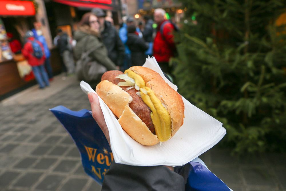 Fleischkuechle, a German patty, at the Nuremberg Christmas Market