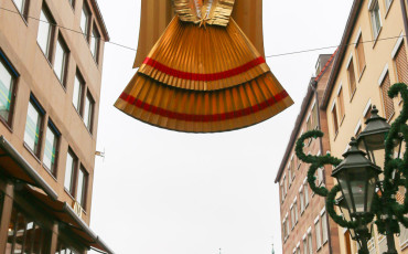 Gold angels watch over the Nuremberg Christmas Market