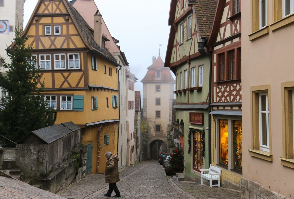A famous street scene in Rothenburg, Germany