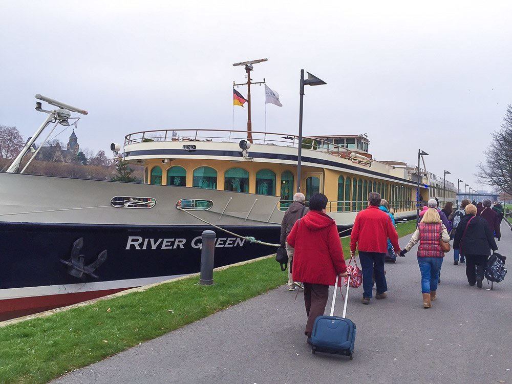 Uniworld's River Queen ship docked in Frankfurt on the Main River