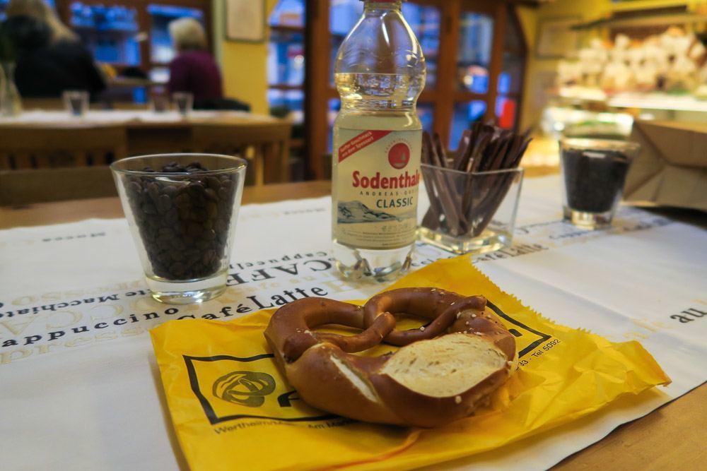 Eat a pretzel at Fritz Frischmuth bakery in Wertheim
