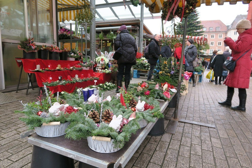 Flowers and greenery at the Wurzburg Christmas Market flowers
