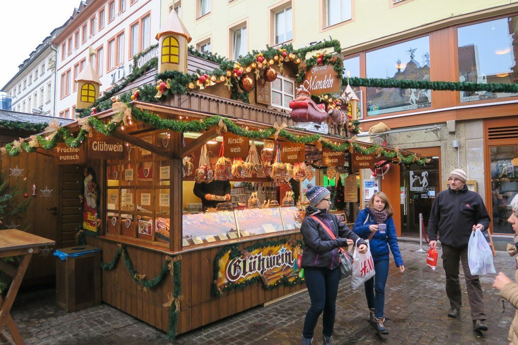 Wurzburg Christmas Market gluhwein keeps shoppers warm