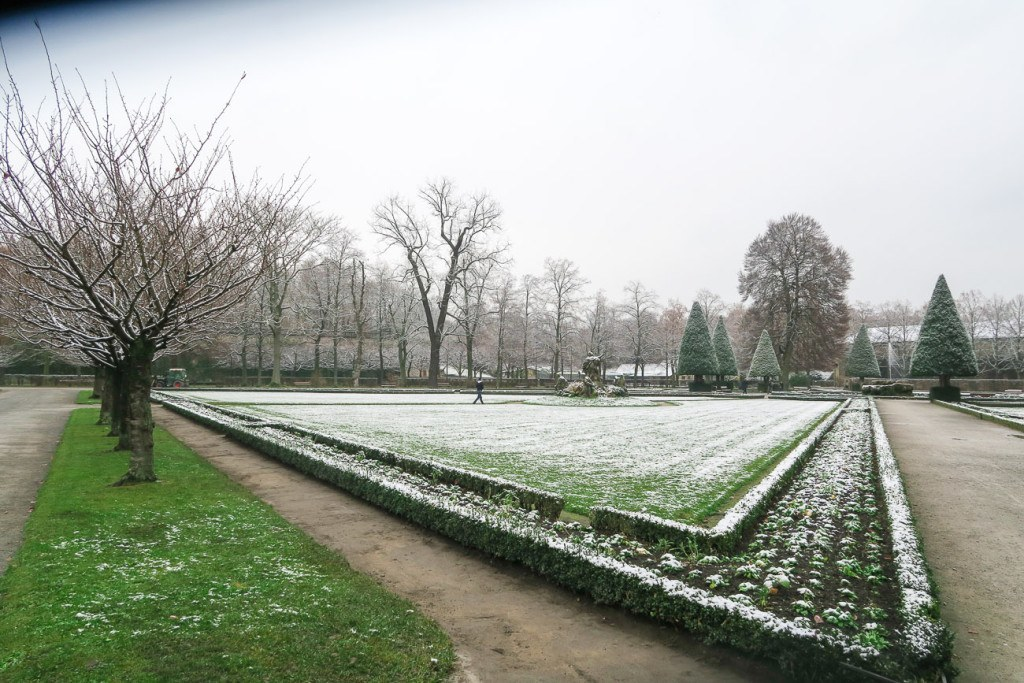 The Wurzburg Residence garden covered in a light blanket of snow