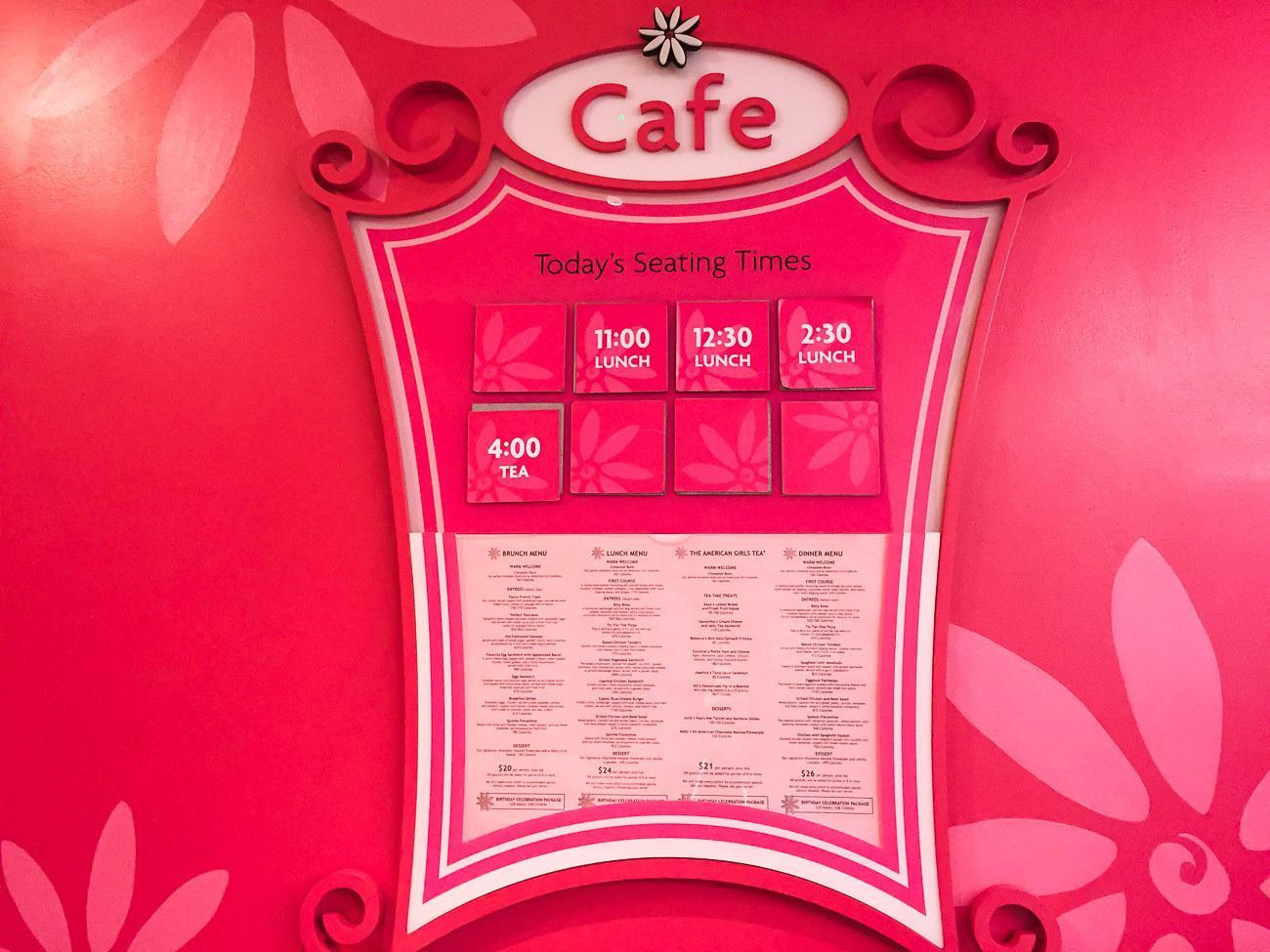 American Girl Doll Cafe Menu
