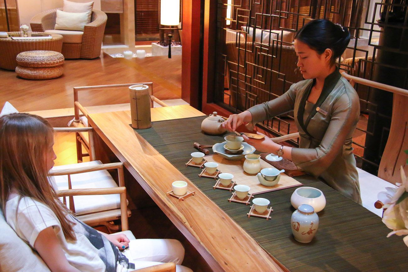 Enjoy a tea ceremony at the Four Seasons Hotel Beijing tea garden