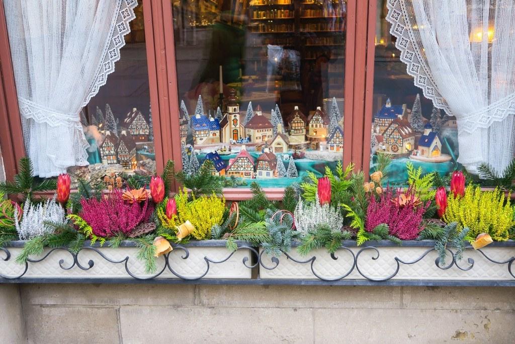 Christmas window box in Rothenburg, Germany