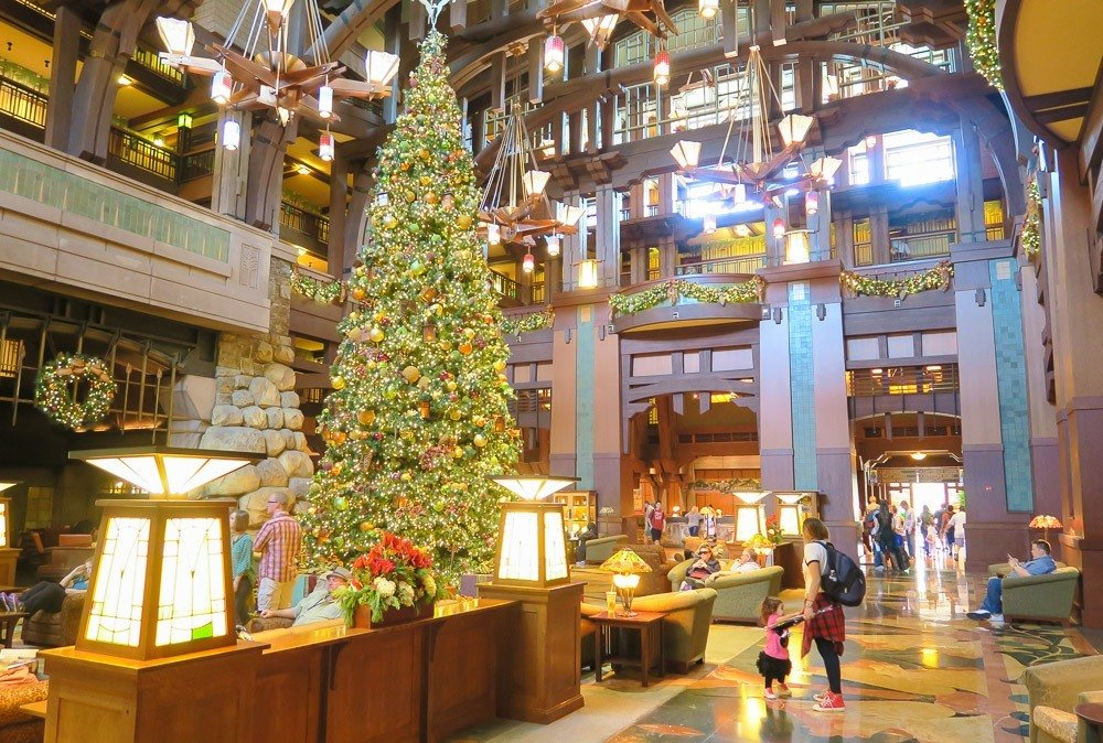The lobby of Disney's Grand Californian Hotel and Spa during the holidays