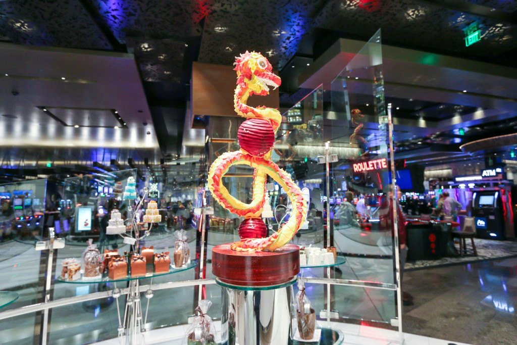 A chocolate dragon at the Aria Resort and Casino in Las Vegas