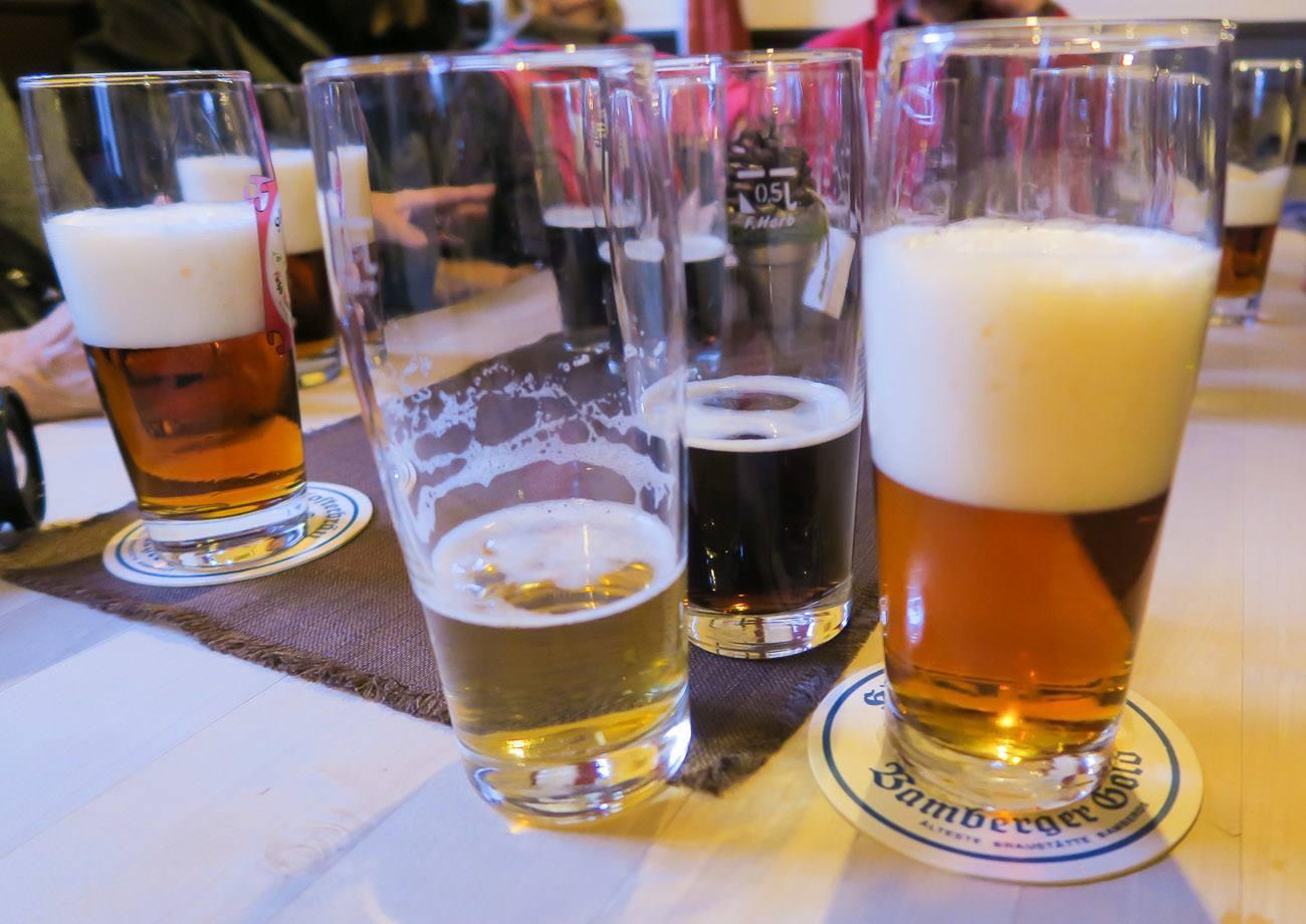 Tasting beer at Klosterbrau brewery in Bamberg Germany
