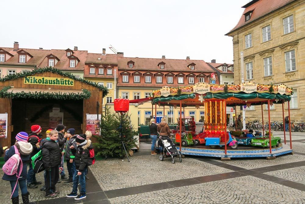A carousel at the Bamberg Christmas market