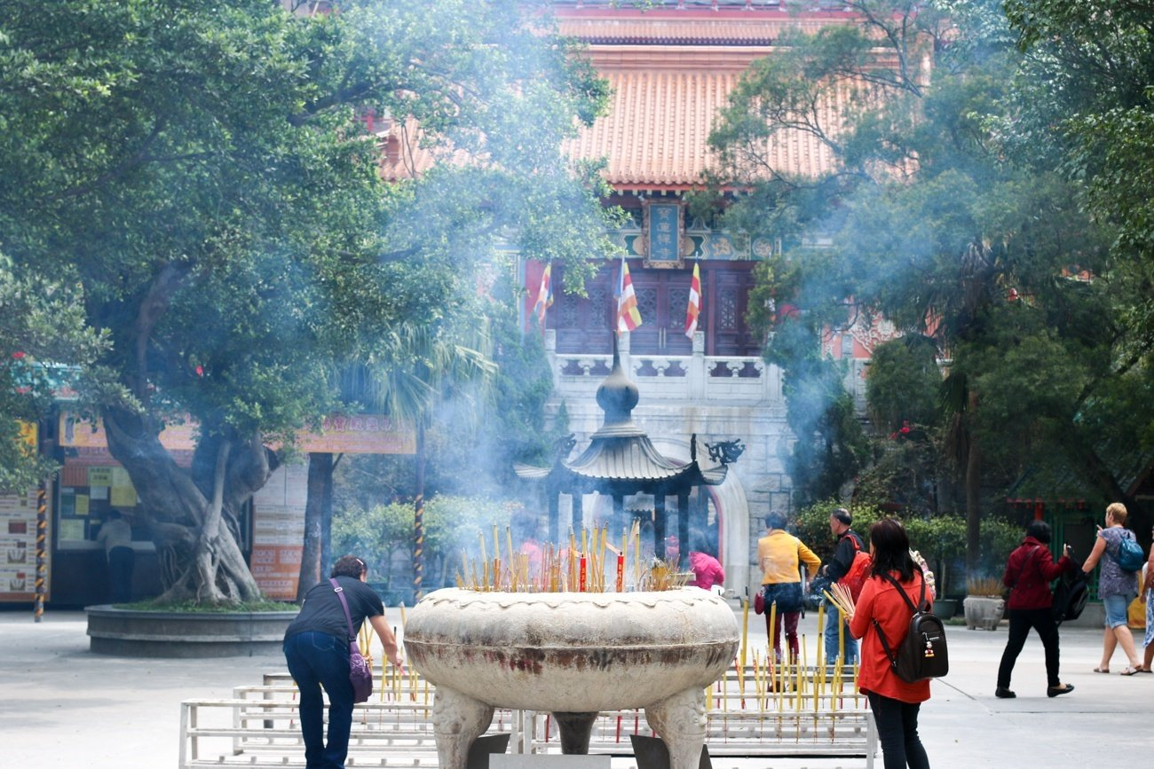 Incense offerings at the Po Lin Monastery near the Big Buddha in Hong Kong