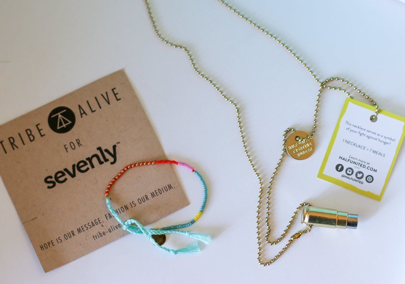 "The Half United ""Fighting Hunger"" necklace and Tribe-Alive bracelet in Sevenly's spring CAUSEBOX"
