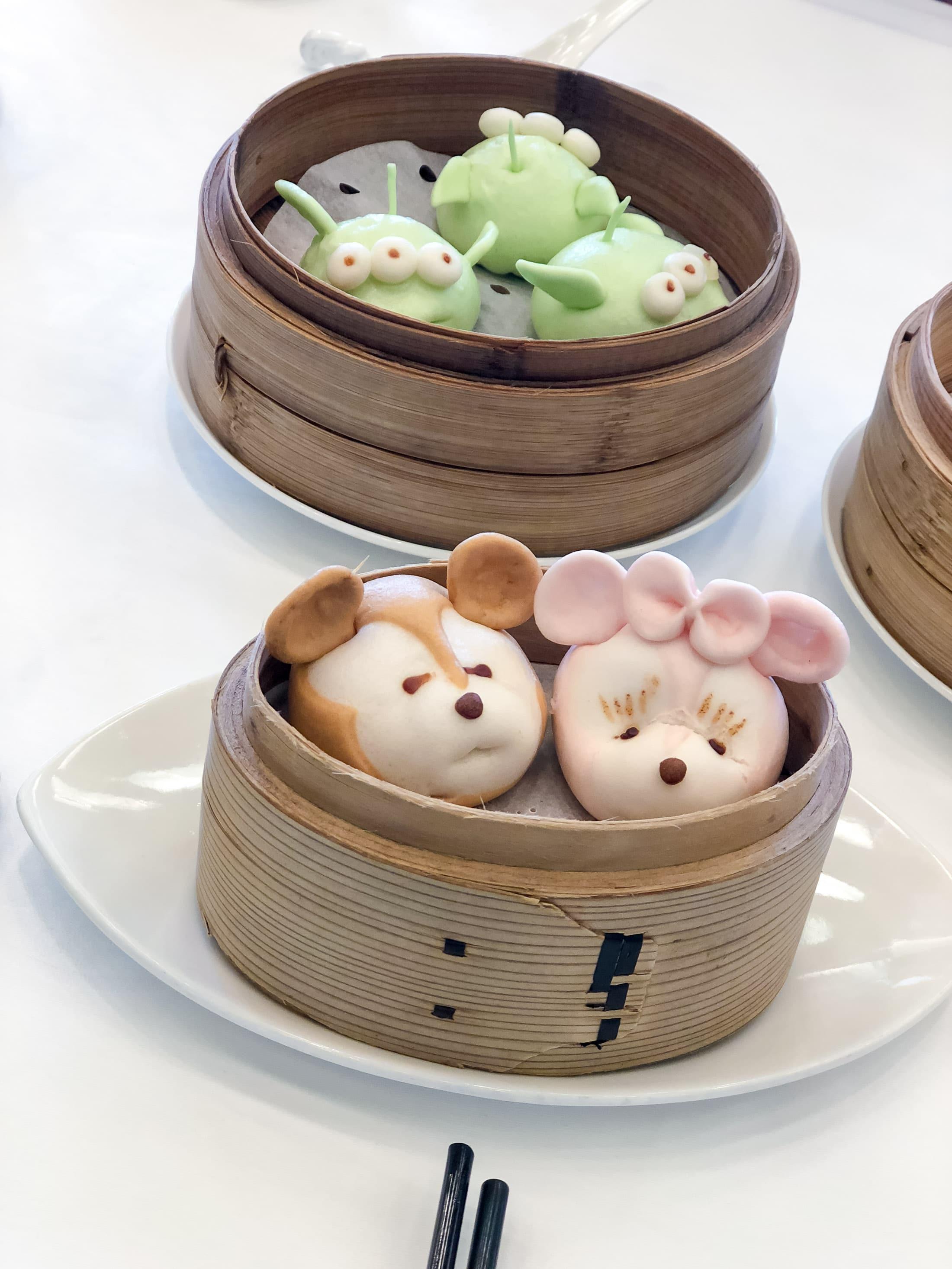 Three little pigs pork and vegetable dim sum at Hong Kong Disnyeland Hotel