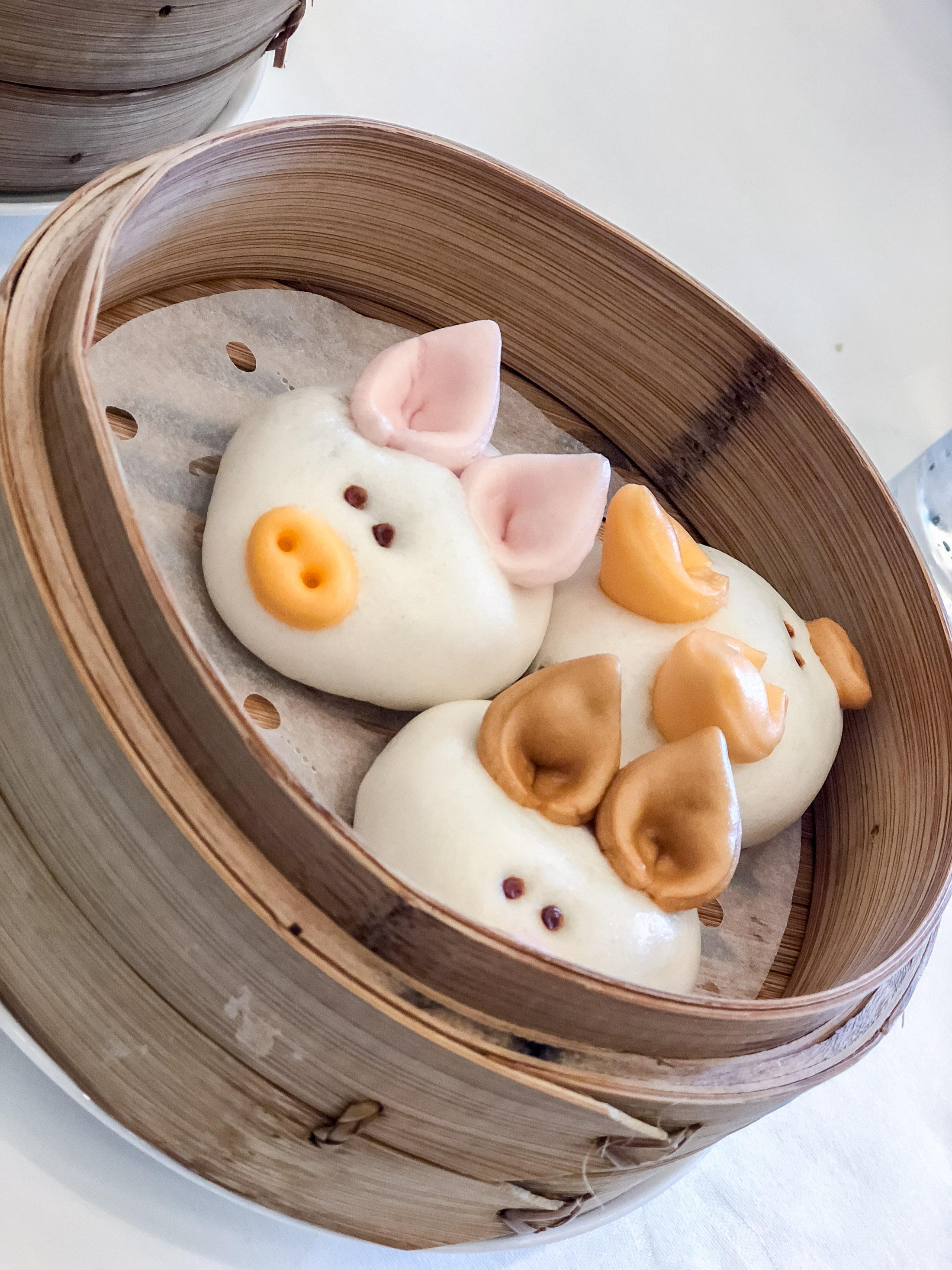 Three little pigs pork buns at Hong Kong Disneyland dim sum