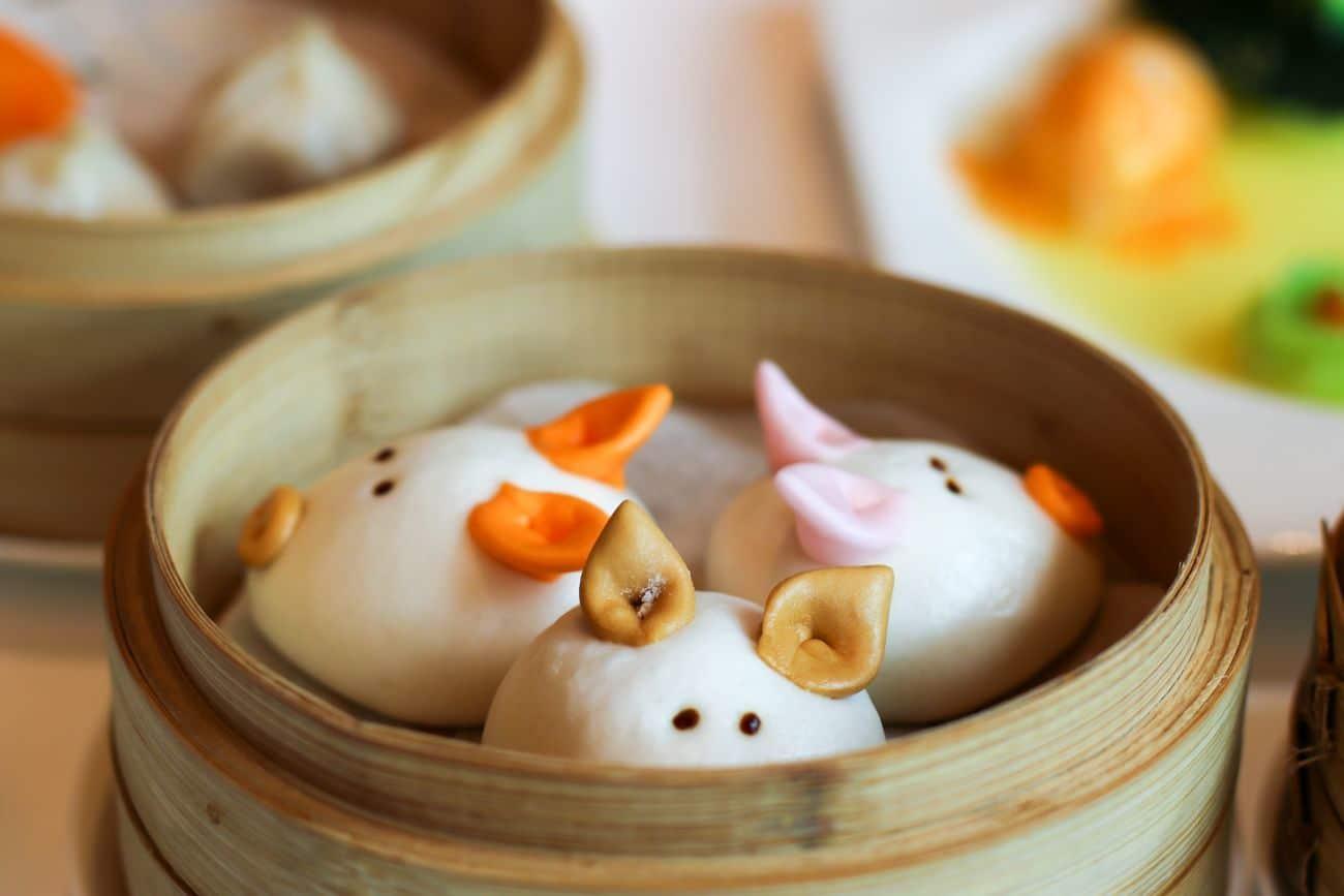 Little pig bun at Hong Kong Disneyland dim sum
