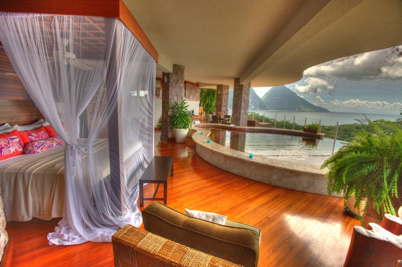 An open-air room at Jade Mountain Resort on St. Lucia