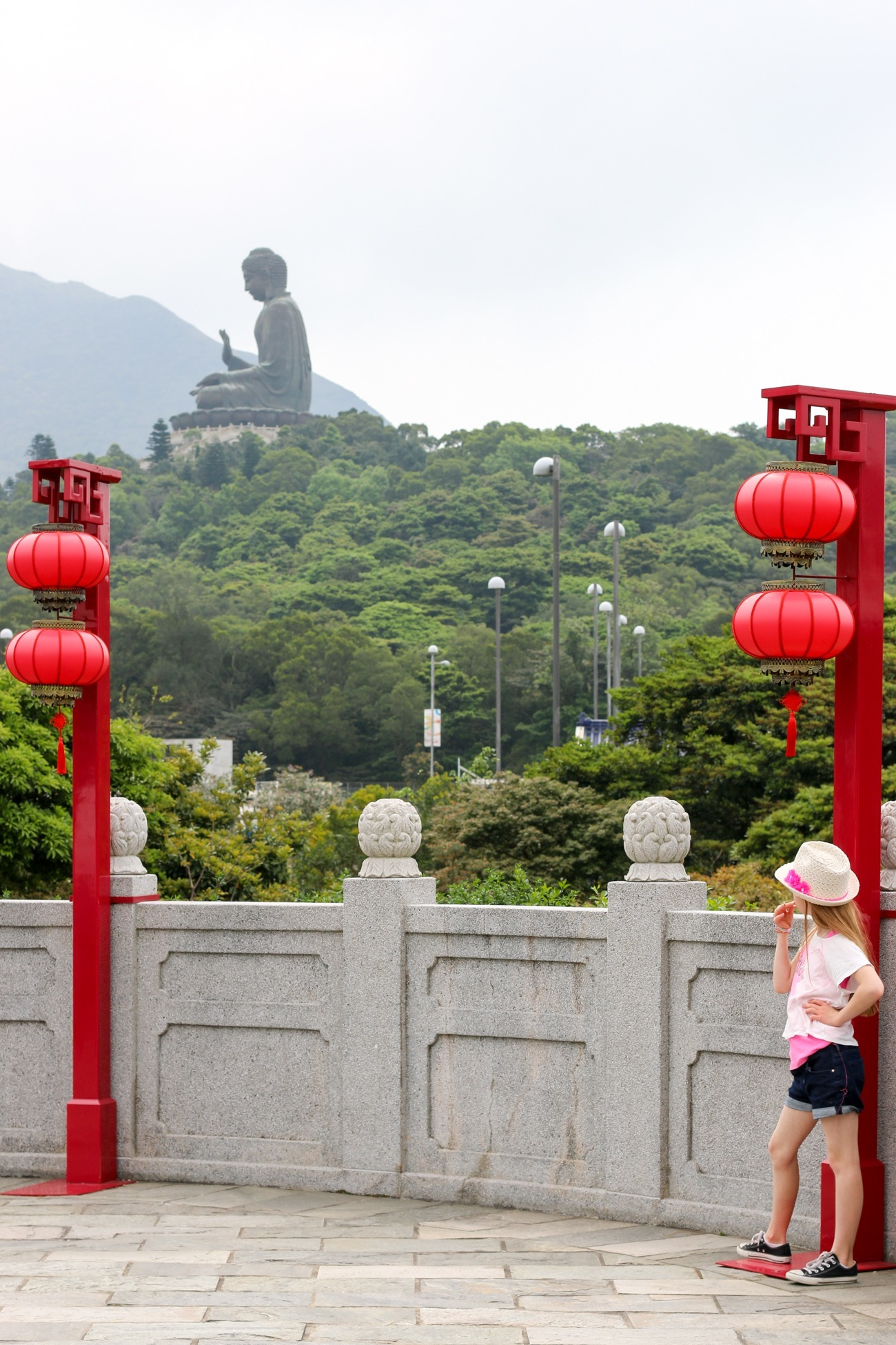 The view of the Big Buddha from Ngong Ping Village on Lantau Island, Hong Kong