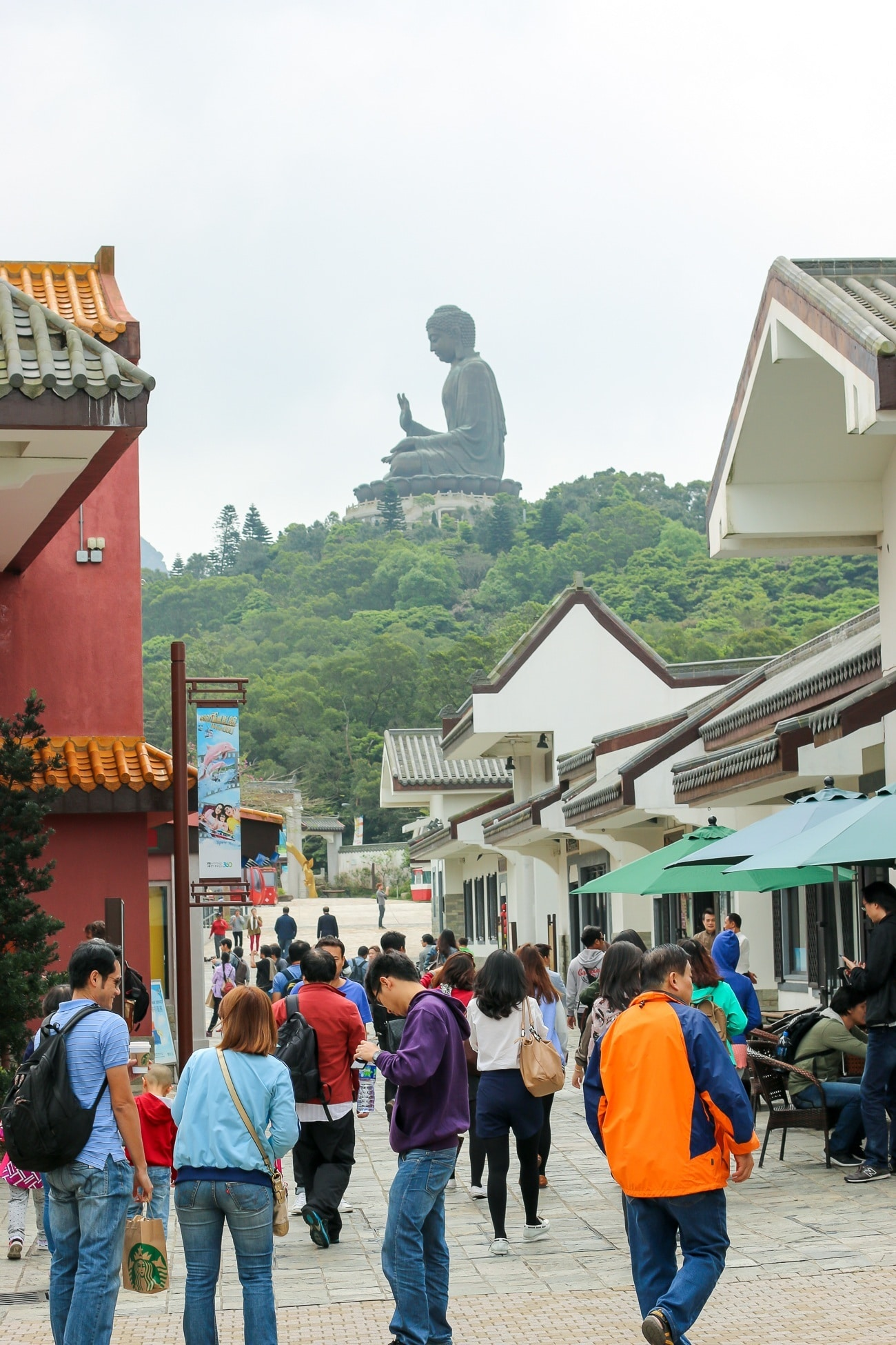 You can see the Big Buddha from Ngong Ping Village in Hong Kong