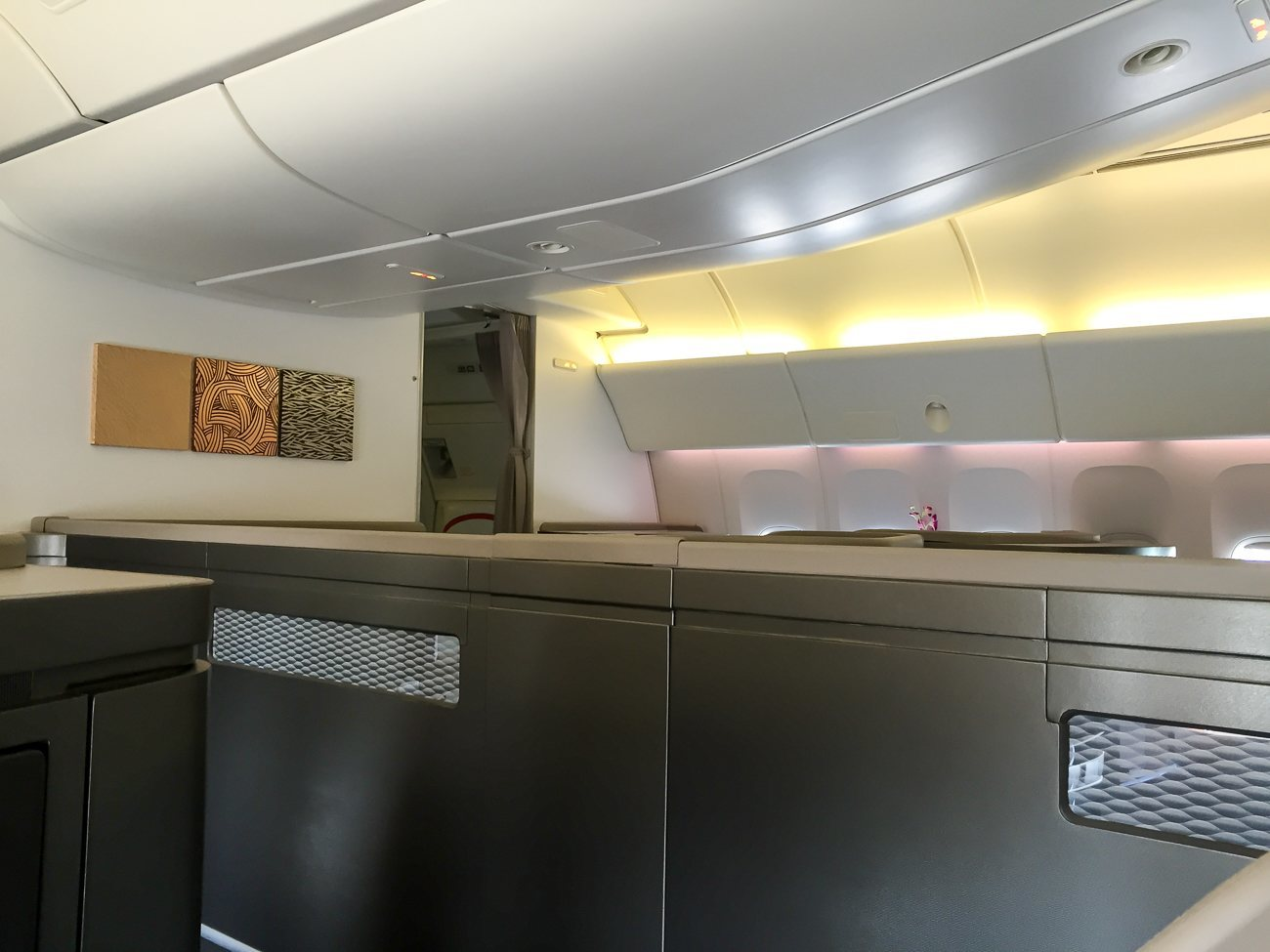 The cabin in first class on Cathay Pacific