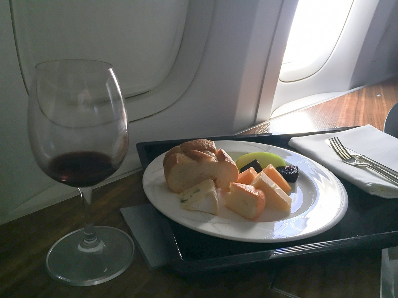 Cheese selection served in first class on Cathay Pacific