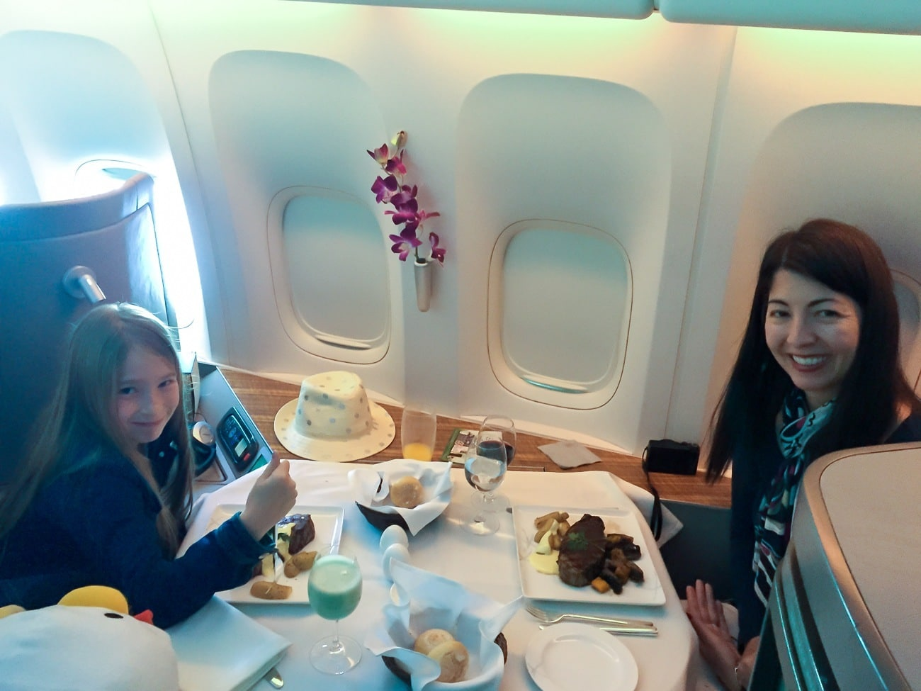 You can dine with a companion in Cathay Pacific's first class.