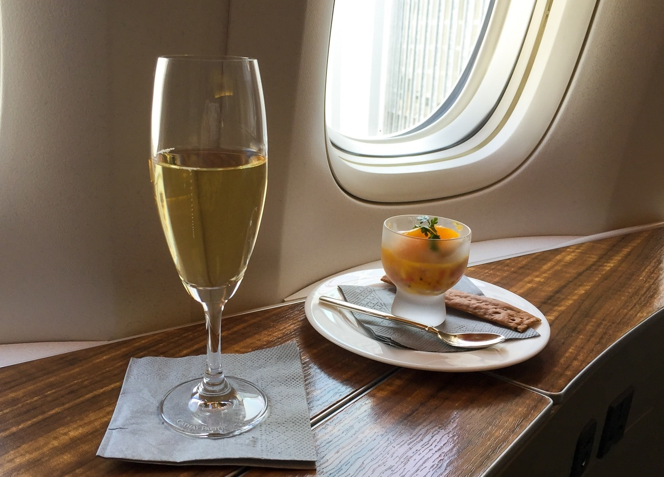 Krug champagne and an amuse bouche in Cathay Pacific's first class