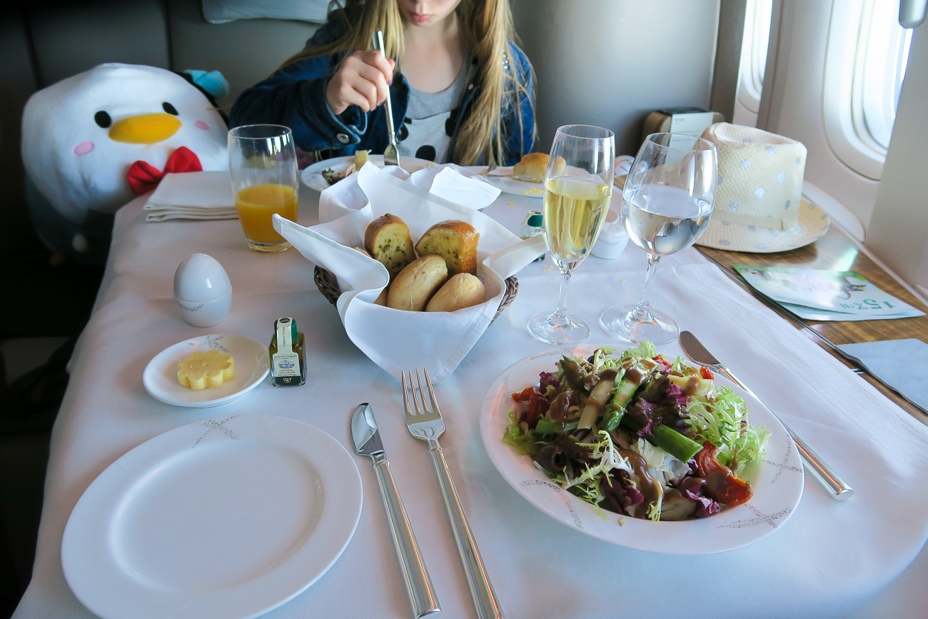 The salad course served in Cathay Pacific's first class