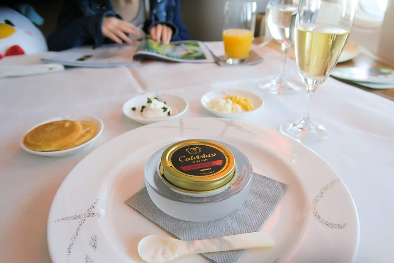 Caviar and Krug champagne in first class on Cathay Pacific