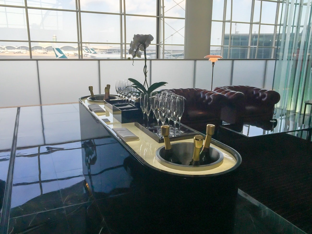 The champagne bar at the Cathay Pacific first class lounge, The Wing, in Hong Kong