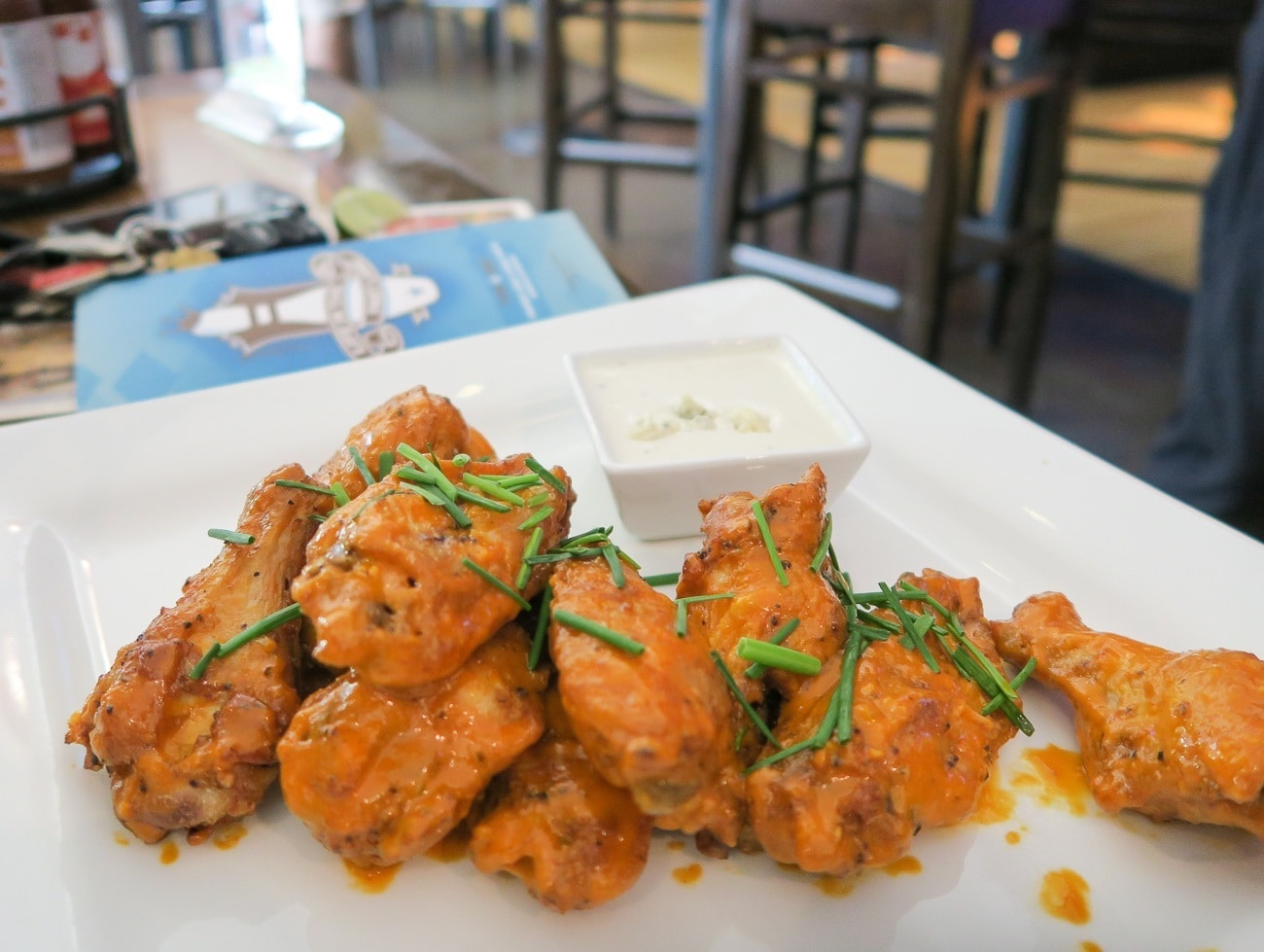 Delicious tavern wings at East Village Tavern and Bowl in San Diego