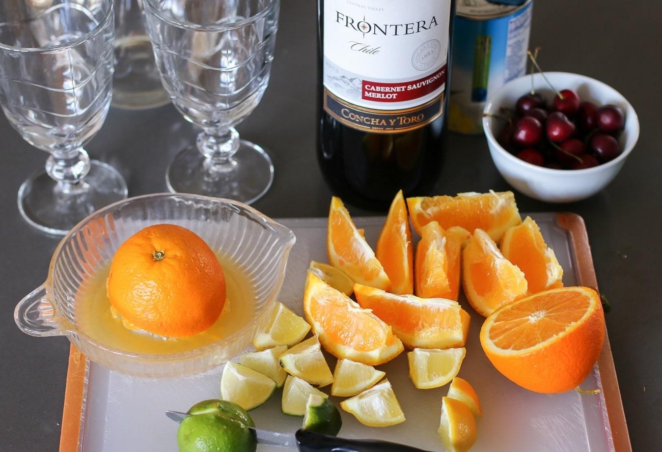 Fresh fruit for the easy sangria recipe.