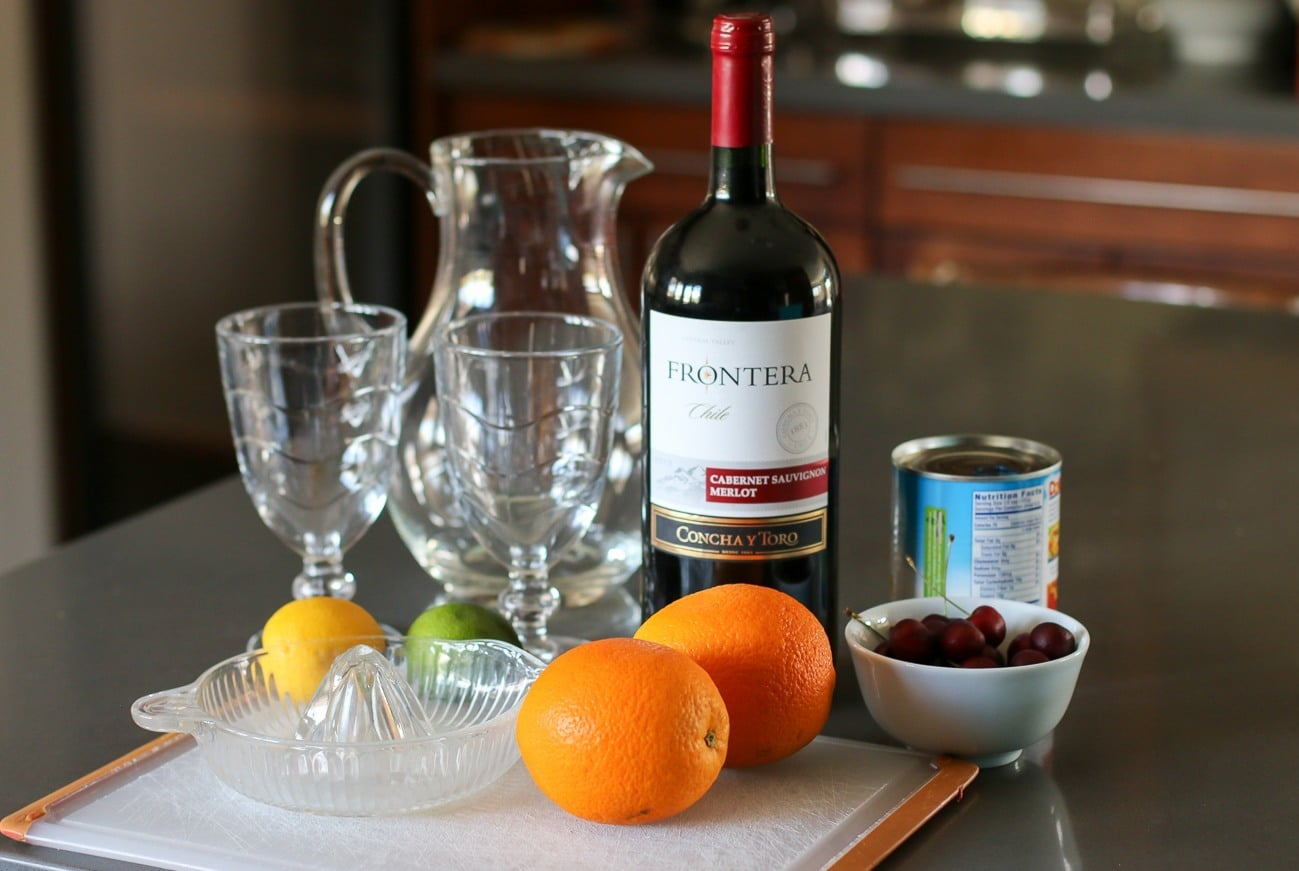 Ingredients for an easy sangria recipe.