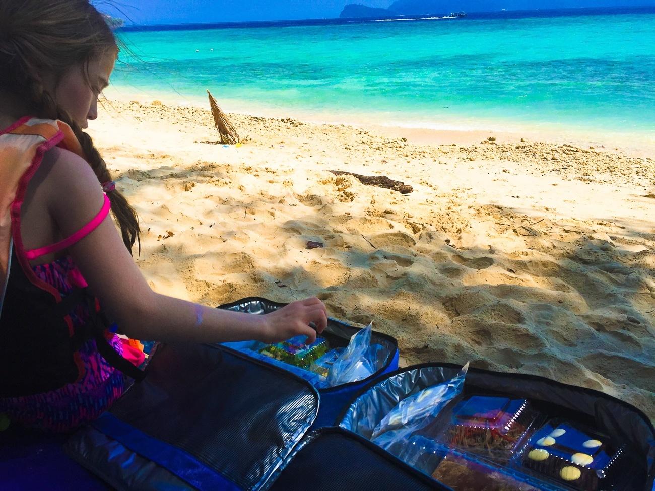Our picnic lunch on Mamutik Island ordered through Shangri-la's Tanjung Aru