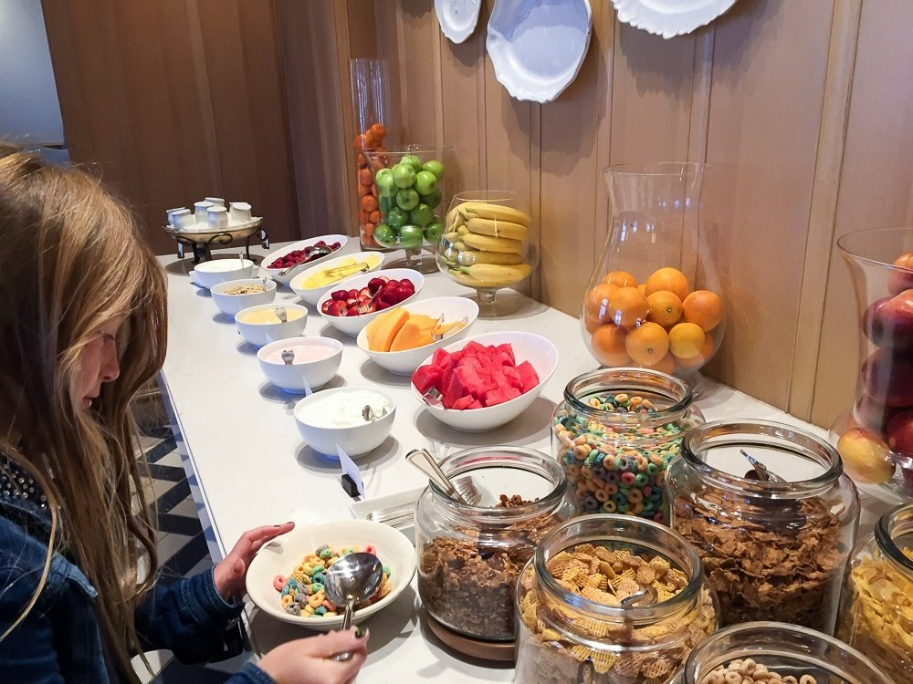 The cereals and fruit at the Park Hyatt Aviara Resort's breakfast buffet