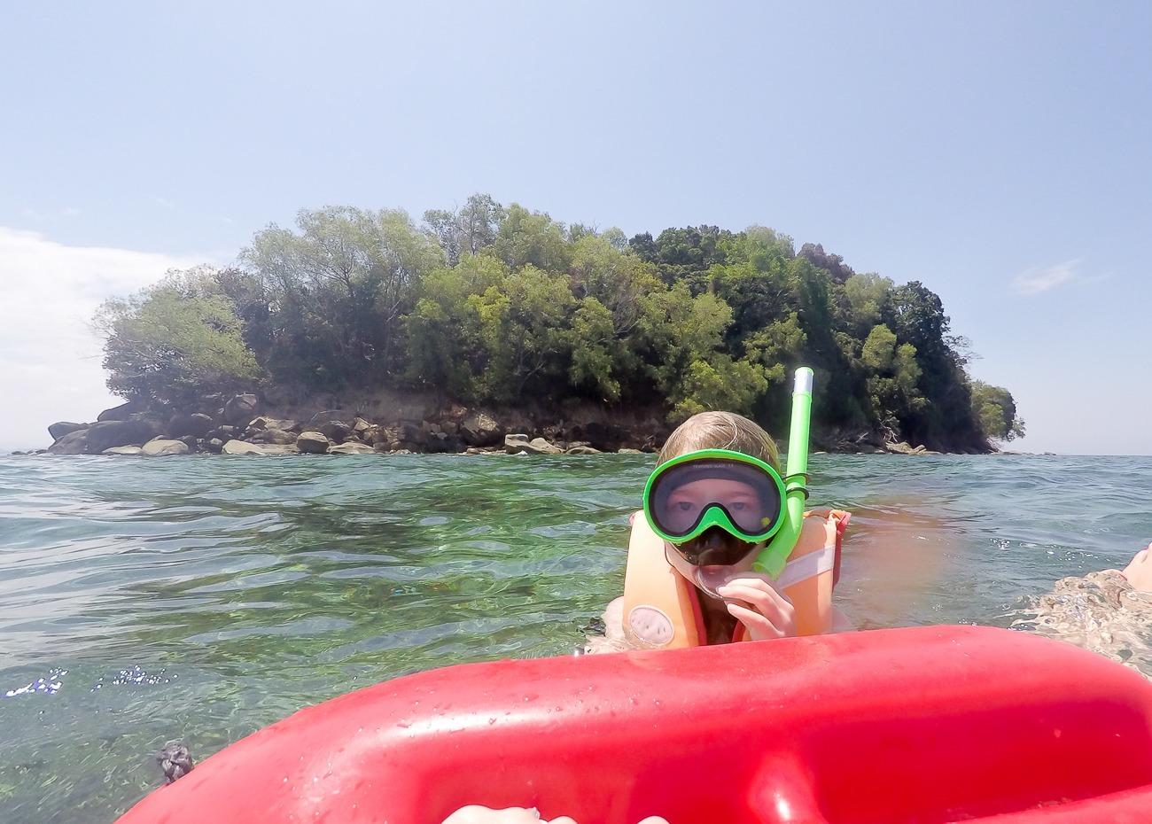 Snorkeling in South China Sea off Mamutik Island