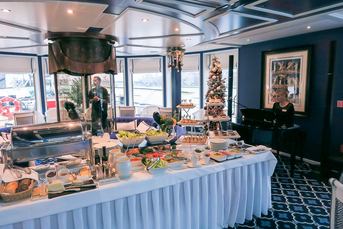 Afternoon tea was served every day on Uniworld's River Queen ship with live piano music.