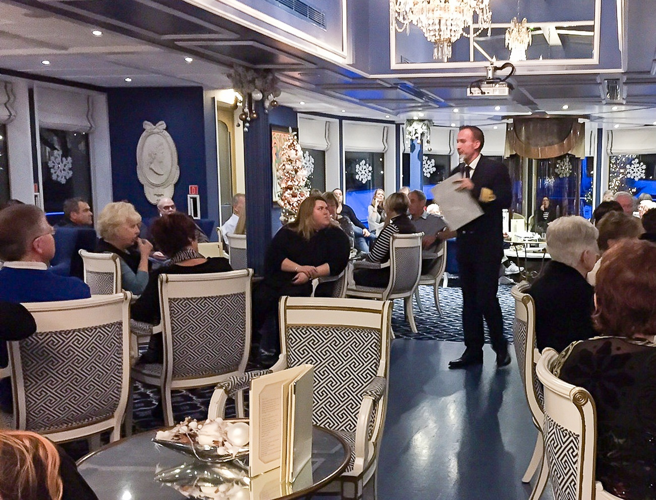 Our Uniworld captain giving a speech before dinner on the River Queen.