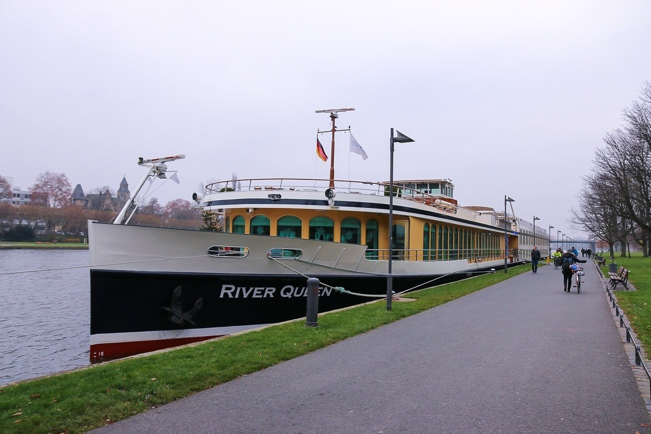 Uniworld's River Queen ship docked in Frankfurt before the Classic Christmas Markets Cruise