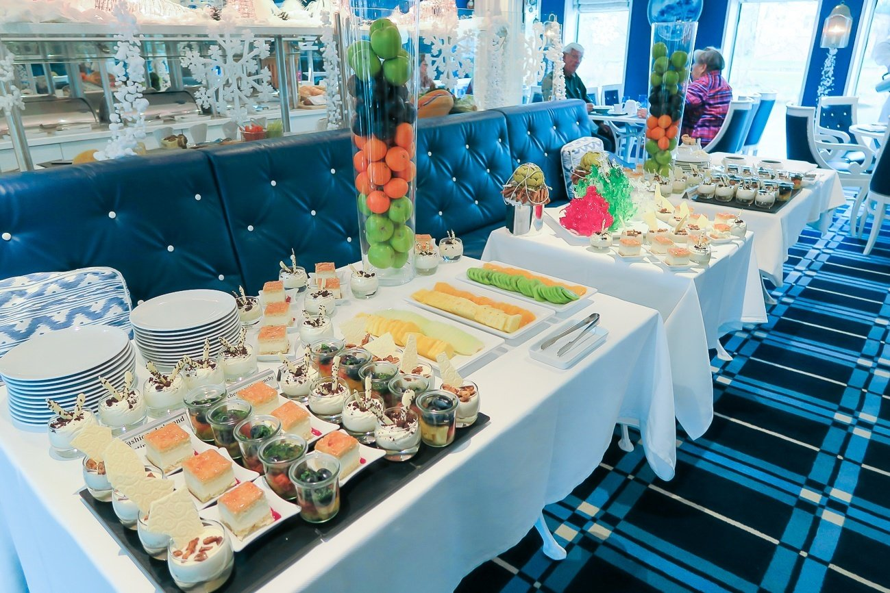 The dessert buffet at lunch on Uniworld's River Queen during the Classic Christmas Markets Cruise