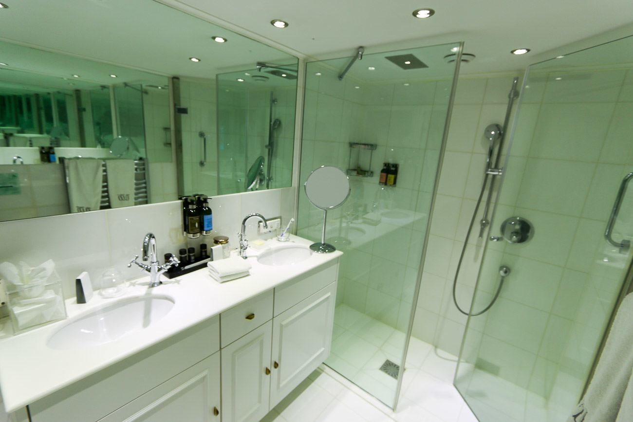 The suite bathrooms on Uniworld's River Queen ship were quite spacious and nice.