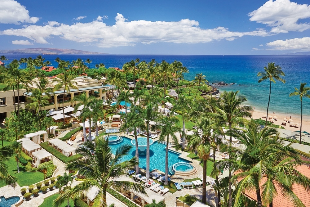 An aerial view of Four Seasons Resort Maui at Wailea, the island's only Forbes five-star resort.