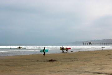 Surfers on La Jolla Shores beach in San Diego
