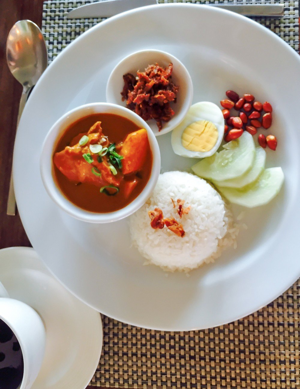 Nasi lemak for breakfast at Shangri-la's Tanjung Aru Resort and Spa in Kota Kinabalu, Malaysia
