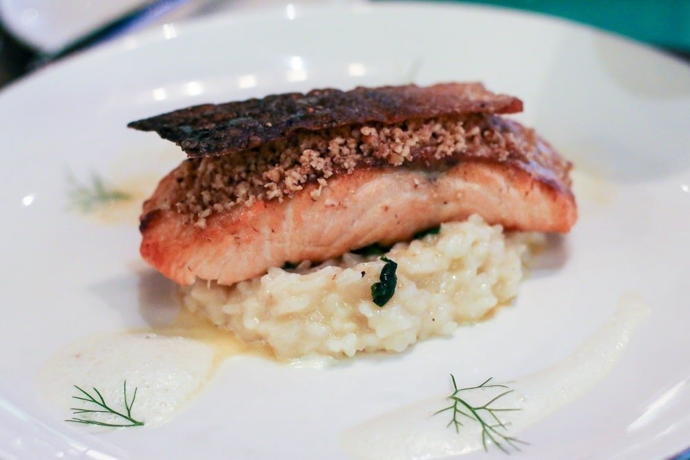 Salmon filet at Peppino restaurant in the Shangri-la resort in Kota Kinabalu