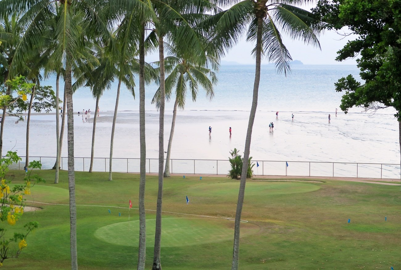 The beach in front of our room at Shangri-la's Tanjung Aru Resort and Spa