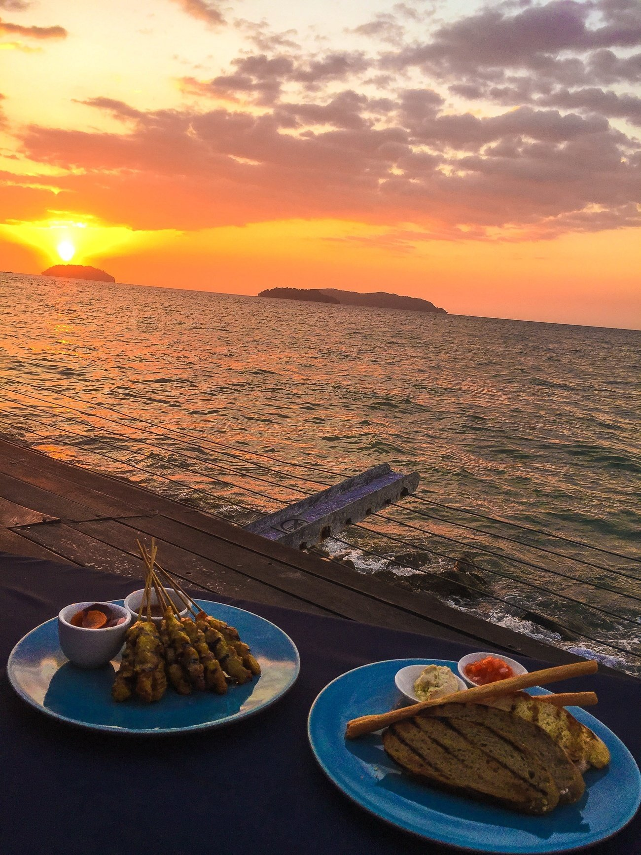 Satay and dips at the Sunset Bar, a little private island that is for guests of Shangri-la's Tanjung Aru Resort and Spa only during sunset.