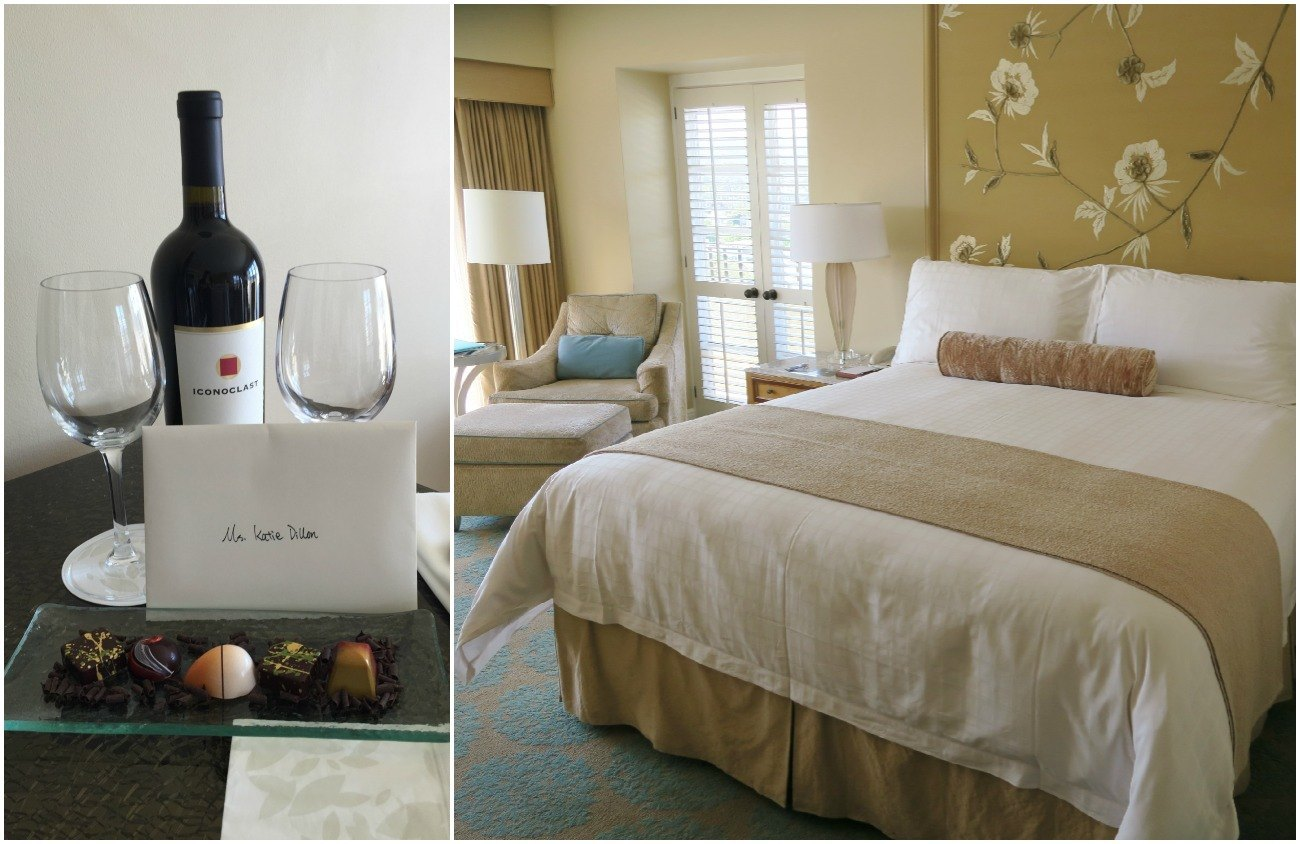 Four Seasons Hotel Los Angeles room and wine amenity