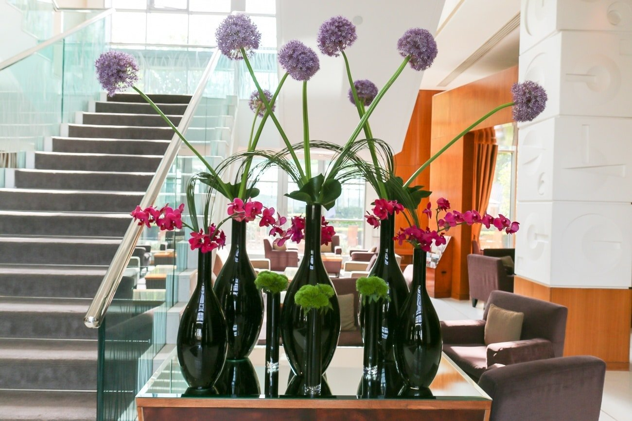 Gorgeous flowers at Four Seasons Hotel London at Canary Wharf