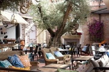 The lounge area at Herringbone restaurant in La Jolla